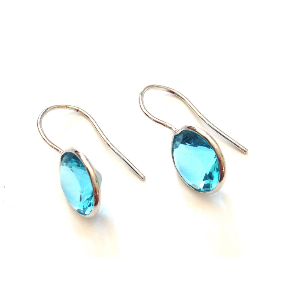 Faceted Round Aqua Cubic Zirconia Drops $18 | Sterling Silver Earrings | Light Years Jewelry