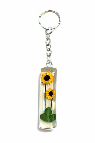 Double Sunflower Keychain, $24 | Real Flower Keyring | Light Years