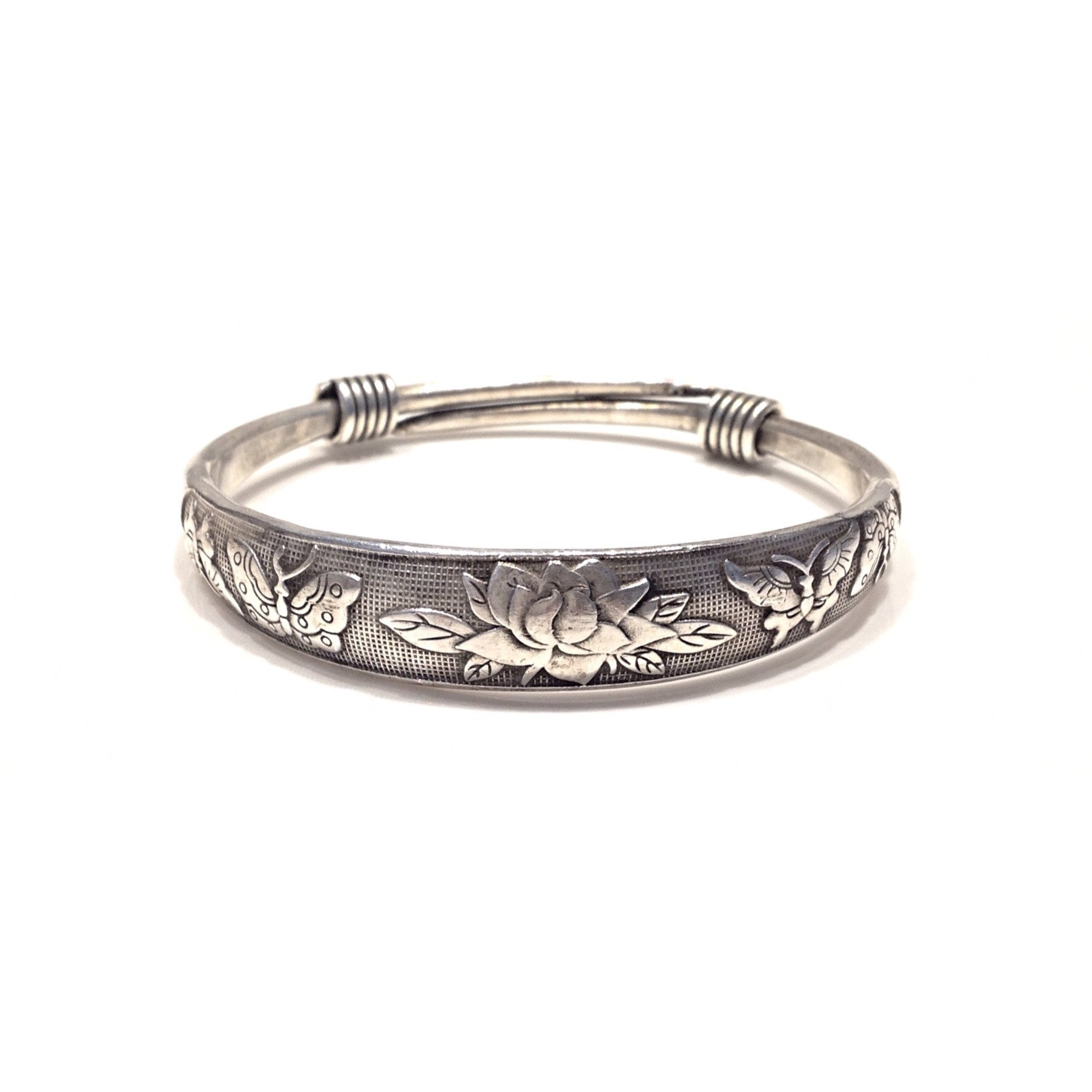 Silver Bangle With Floral Pattern $16 | Bracelet | Light Years Jewelry