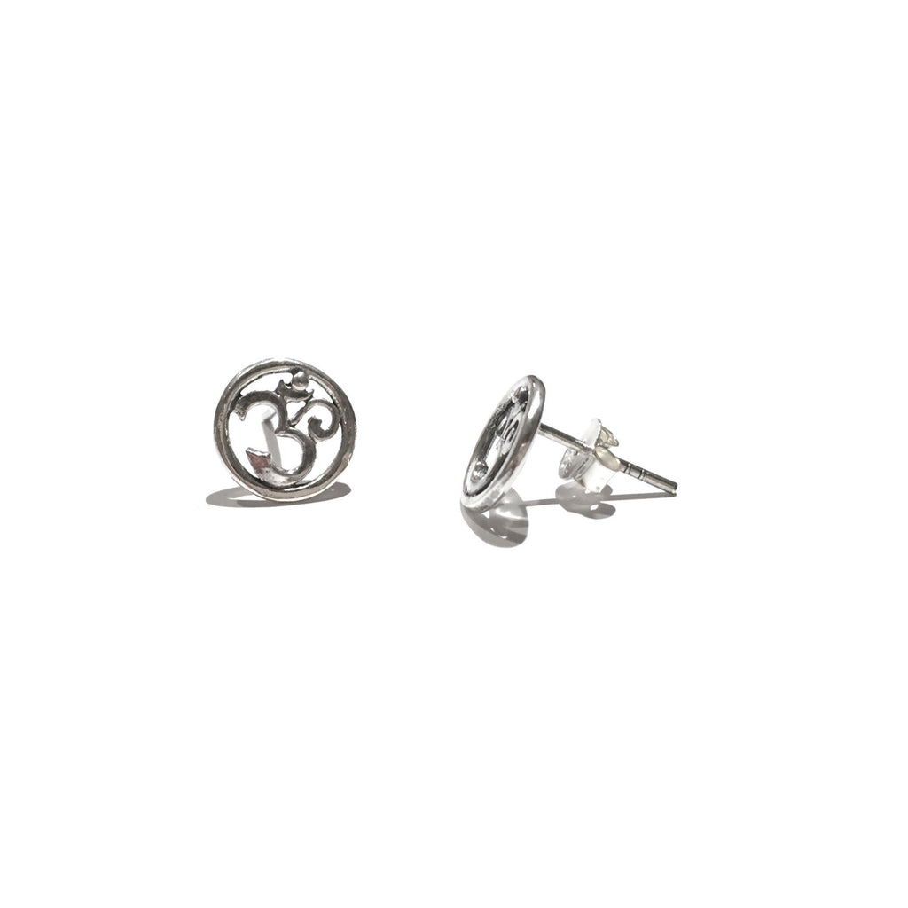 Om Posts with Border, $11 | Sterling Silver Stud Earrings | Light Years Jewelry