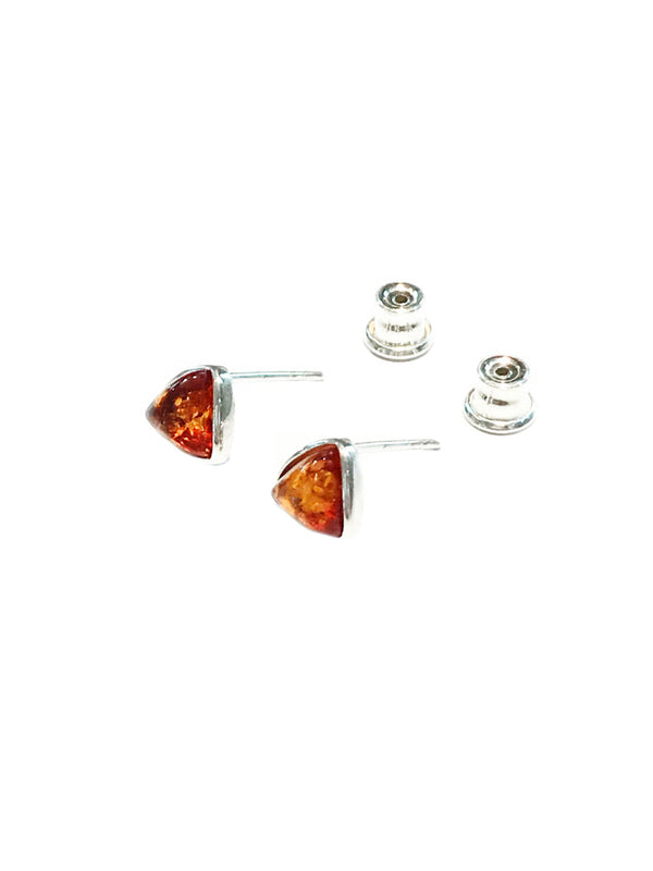 Amber Triangle Posts | Sterling Silver Studs Earrings | Light Years
