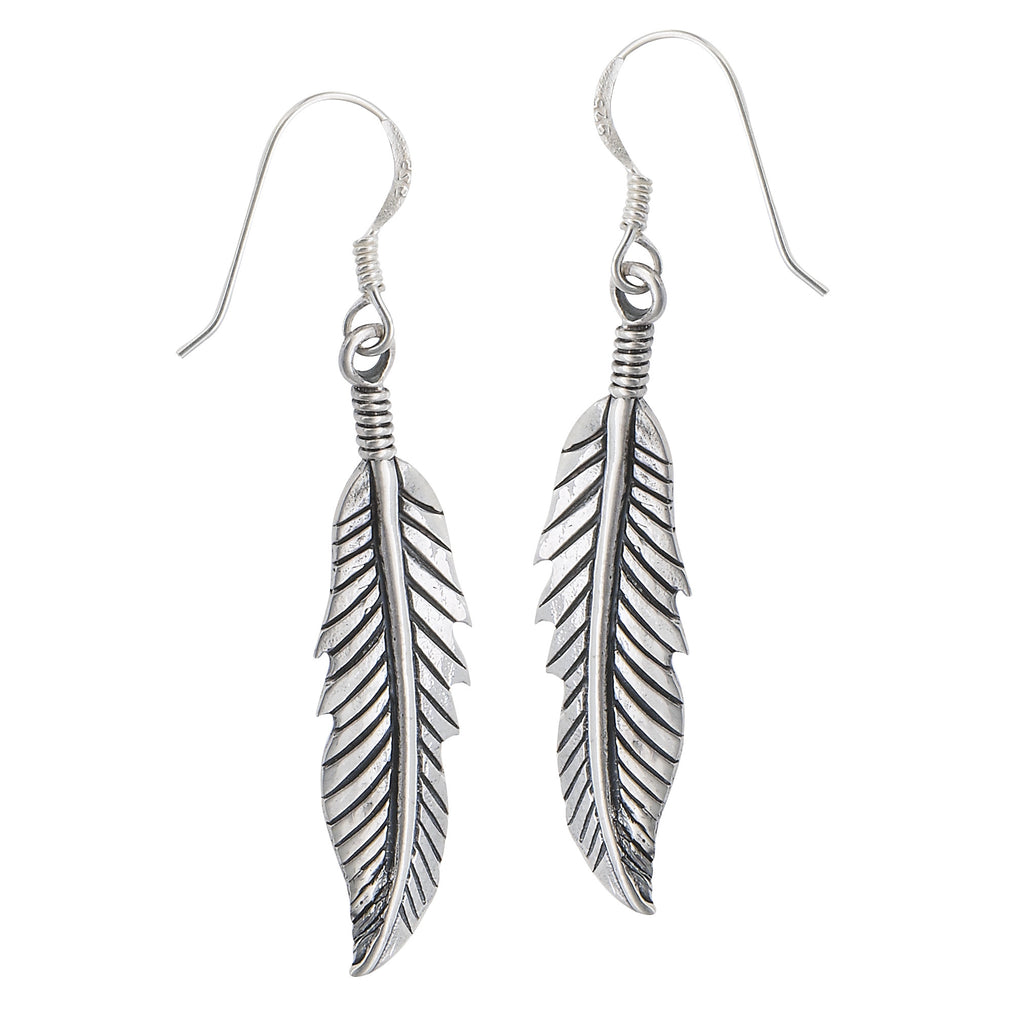 Detailed Feather Dangles, $18 | Sterling Silver Earrings | Light Years