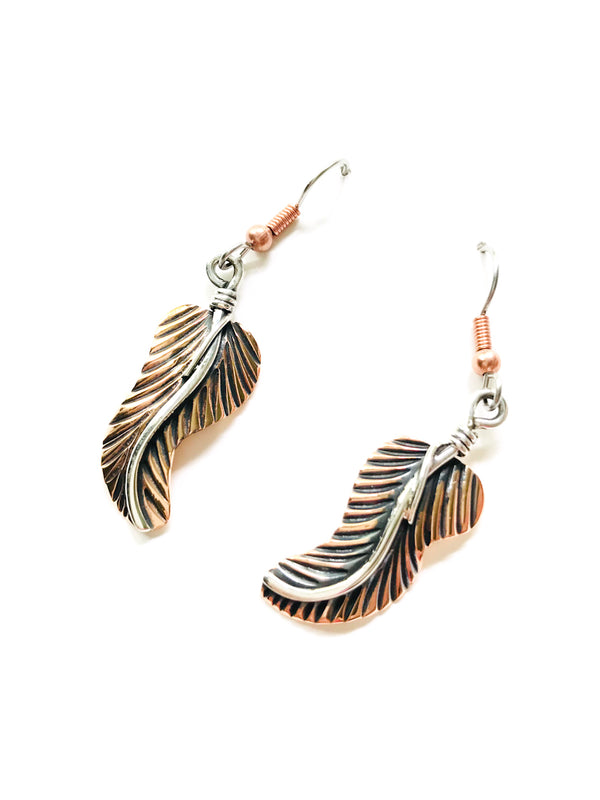 Copper & Silver Feather Dangles | Sterling Silver Earrings | Light Years