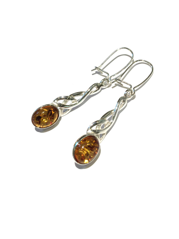 Amber Celtic Dangles