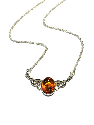 Amber Celtic Necklace | Sterling Silver Baltic Poland | Light Years