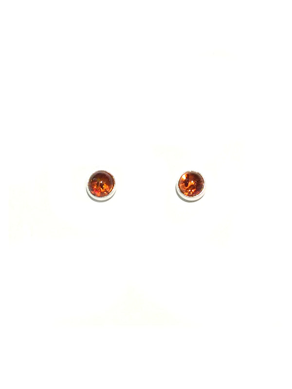 Baltic Amber Circle Posts | Sterling Silver Stud Earrings | Light Years