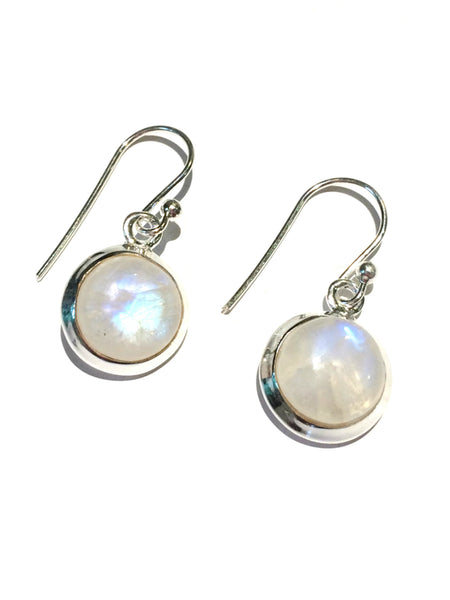 Round Rainbow Moonstone Dangles | Sterling Silver | Light Years Jewelry
