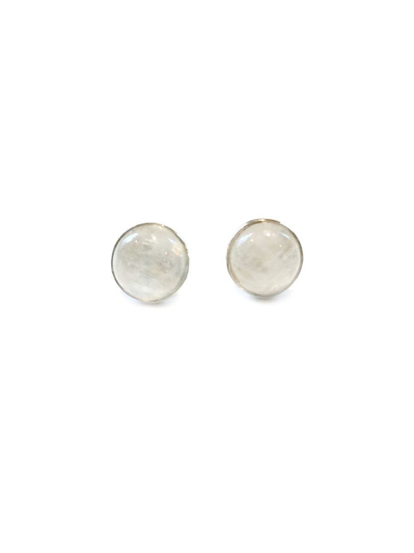 Round Moonstone Stud Earrings | Sterling Silver Posts | Light Years