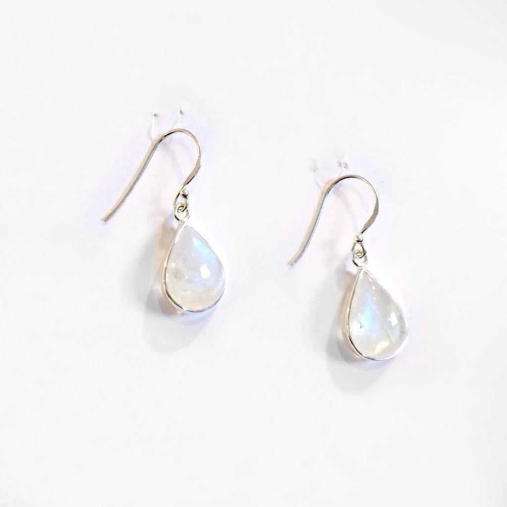 Moonstone Teardrop Dangles, $28 | Sterling Silver | Light Years Jewelry