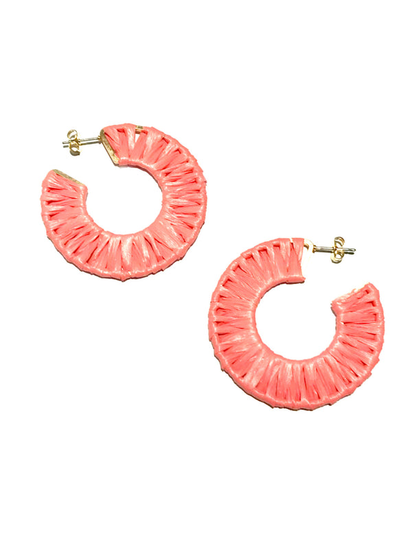 Woven Raffia Hoops | Post Earrings Coral Pink Ivory Blue | Light Years