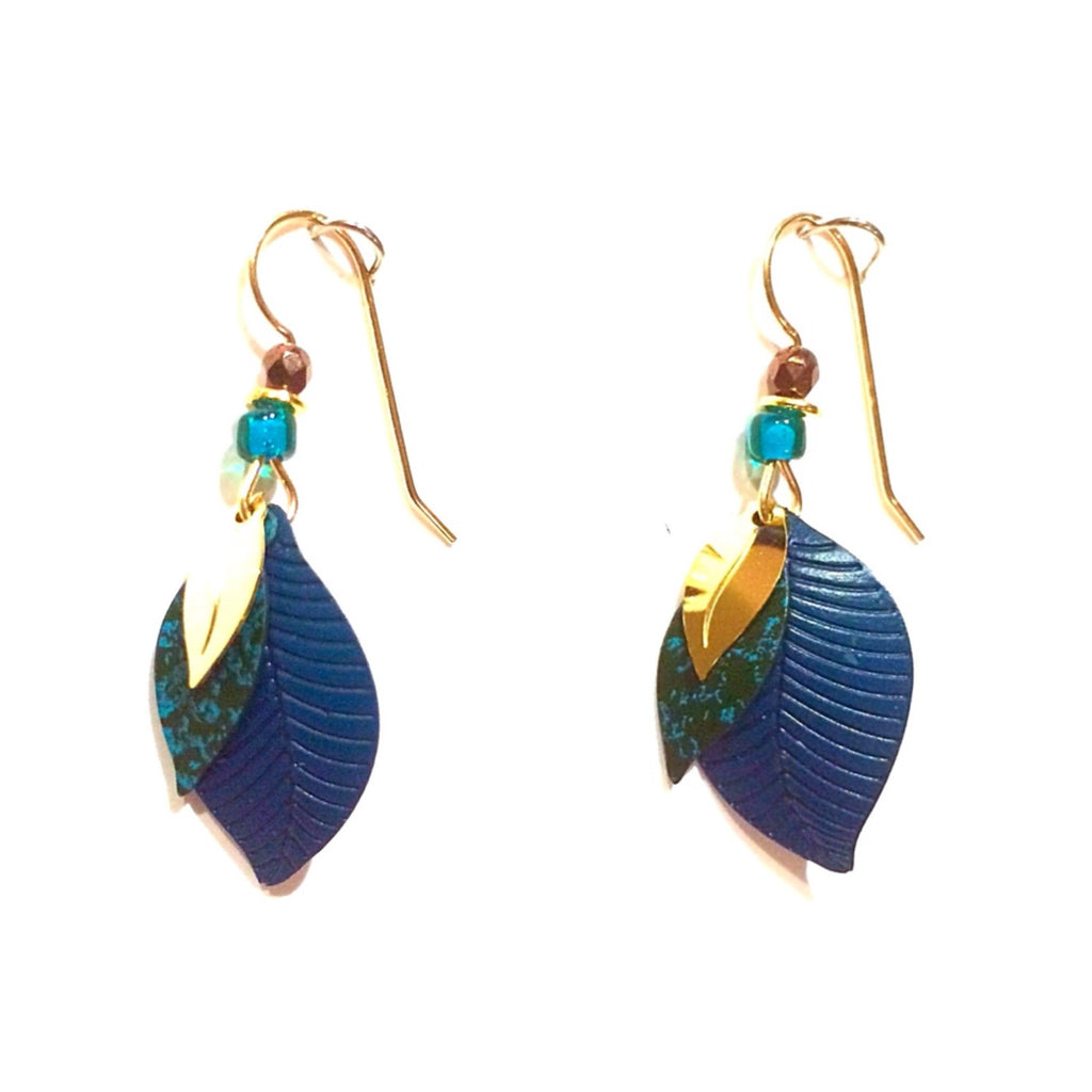 Teal Blue Leaf Earrings by Adajio, $20 | Gold-Filled | Light Years Jewelry