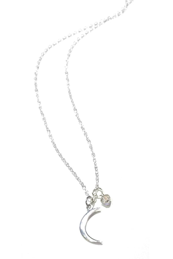 Silver Cresent Moon and Crystal Necklace, $26 | Light Years Jewelry