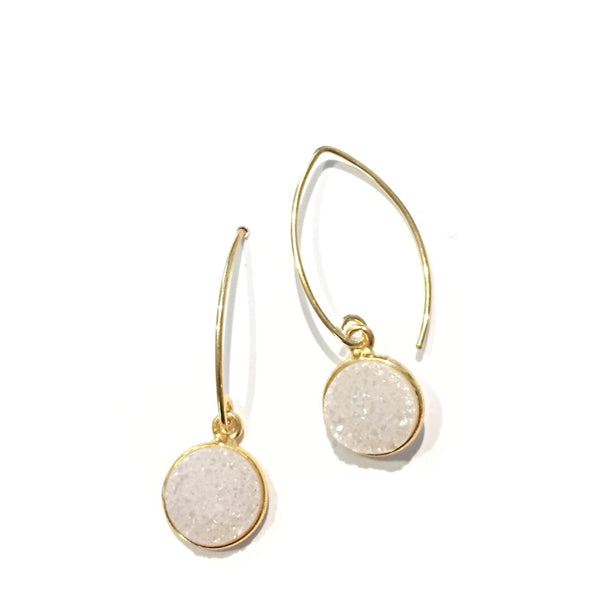 Round White Druzy Marquis Earrings, $27 | Light Years Jewelry