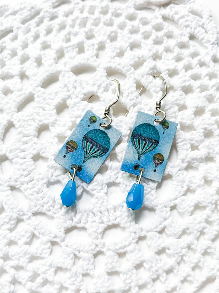 Blue Hot Air Balloon Dangles | Sterling Silver Earrings | Light Years
