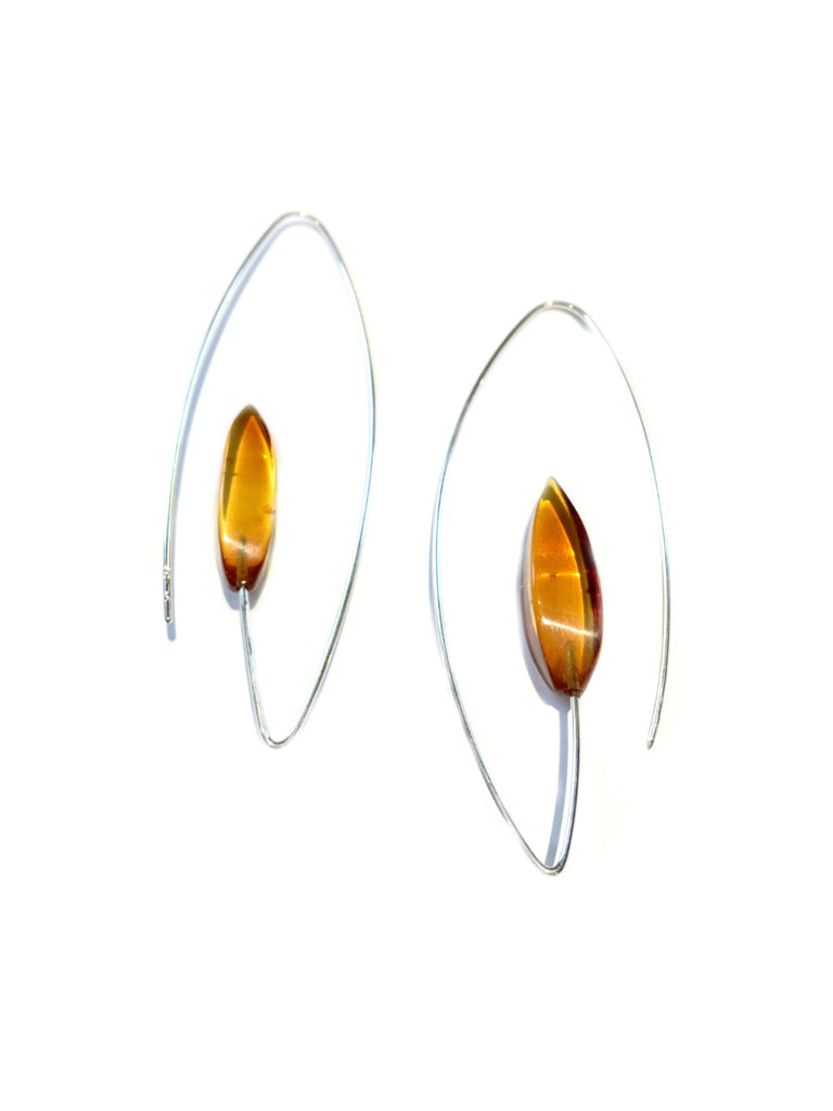 Modern Baltic Amber Earrings | Sterling Silver | Light Years Jewelry