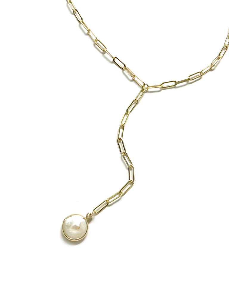 Coin Pearl Y Necklace | Gold Link Fashion Chain | Light Years Jewelry