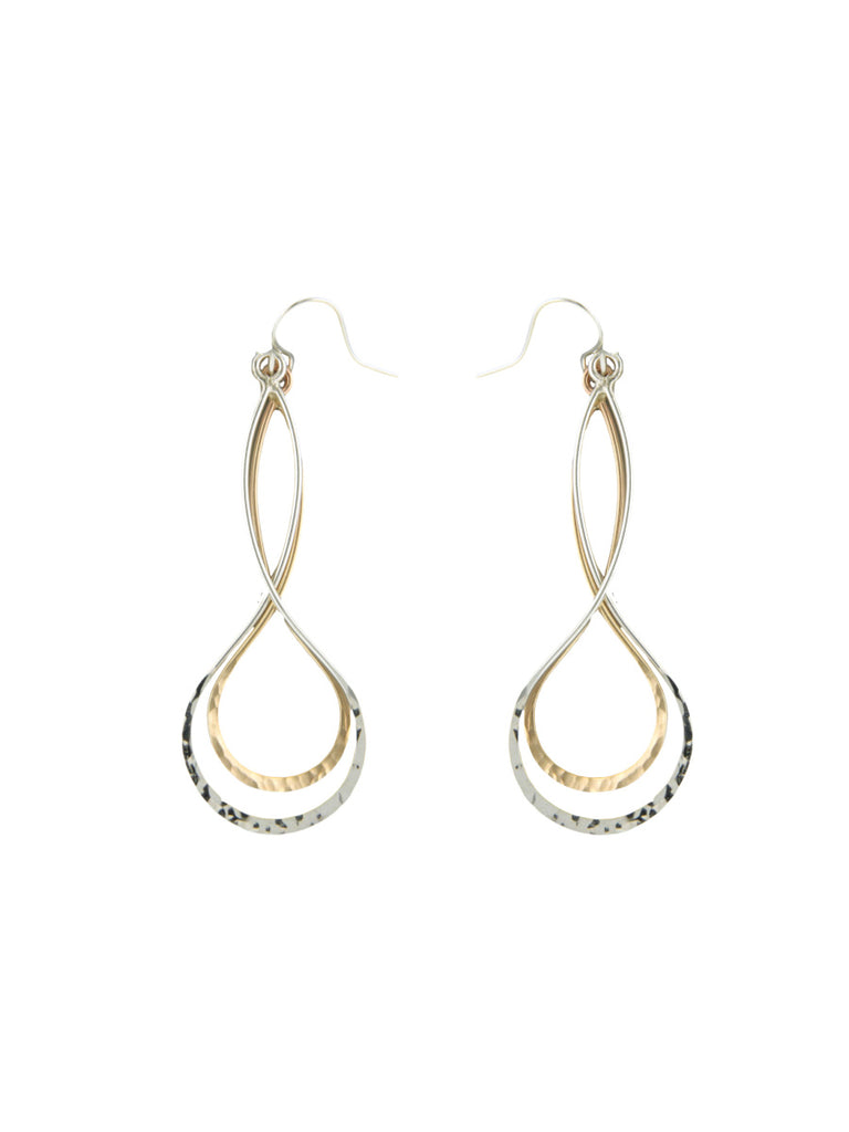 Multi-metal Hammered Twist Dangles | Silver Gold Earrings | Light Years