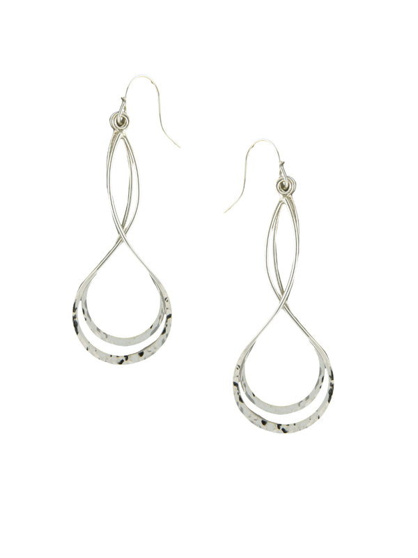 Hammered Twist Dangles | Sterling Silver Earrings | Light Years Jewelry