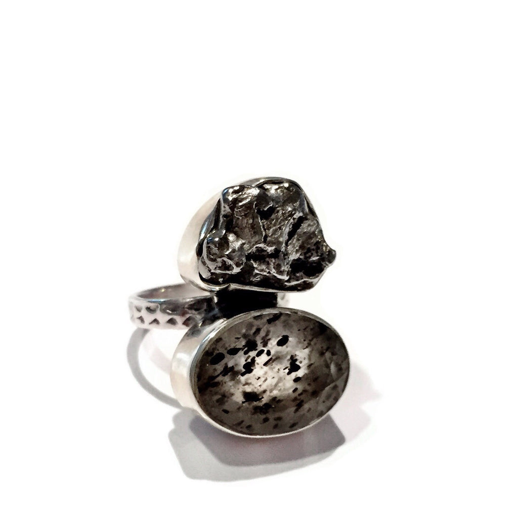 Meteorite and Quartz Ring, $88 | Sterling Silver | Light Years Jewelry