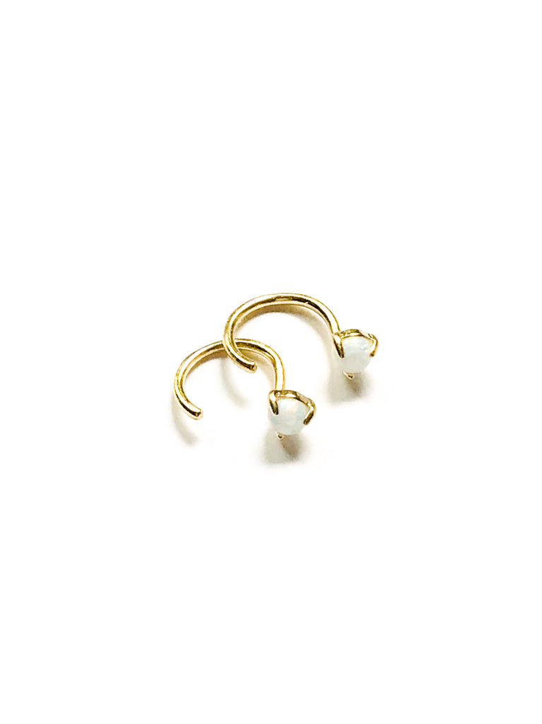 Opal & Curved Wire Earrings | Gold Plated Hoops Studs | Light Years