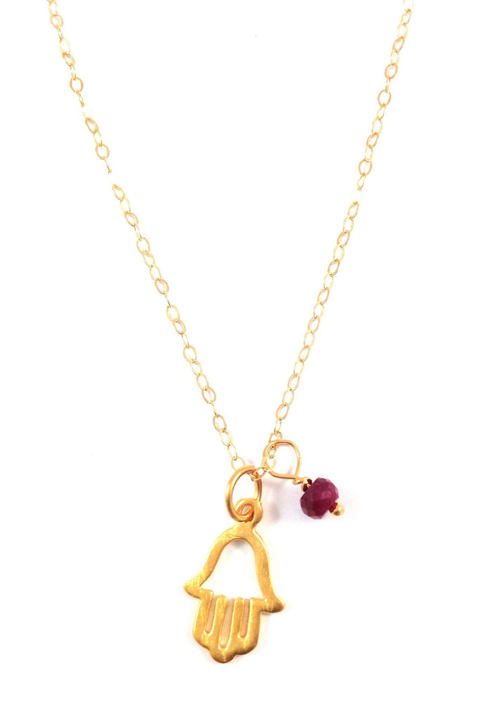 Hamsa And Ruby Crystal Necklace, $34 | 14kt Gold | Light Years Jewelry