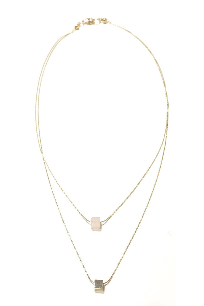 Cube and Pink Quartz Double Strand Necklace, $14 | Gold-Plated Fashion Necklace | Light Years Jewelry