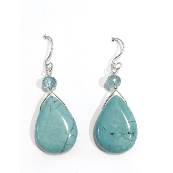 Apatite and Turquoise Teardrop Earrings, $26 | Light Years Jewelry