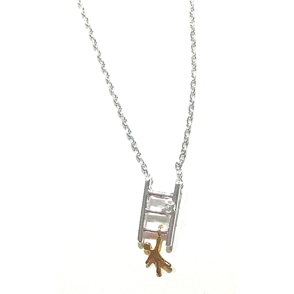Mixed Metal Ladder Necklace, $22 | Silver or Gold | Light Years Jewelry