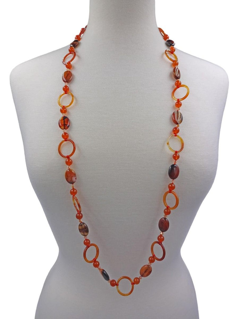 Carnelian Stone Ring Necklace | Sterling Silver | Light Years Jewelry