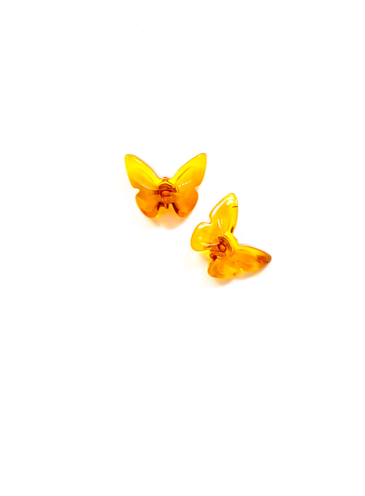 Baltic Amber Butterfly Posts | Sterling Silver Studs Earrings | Light Years