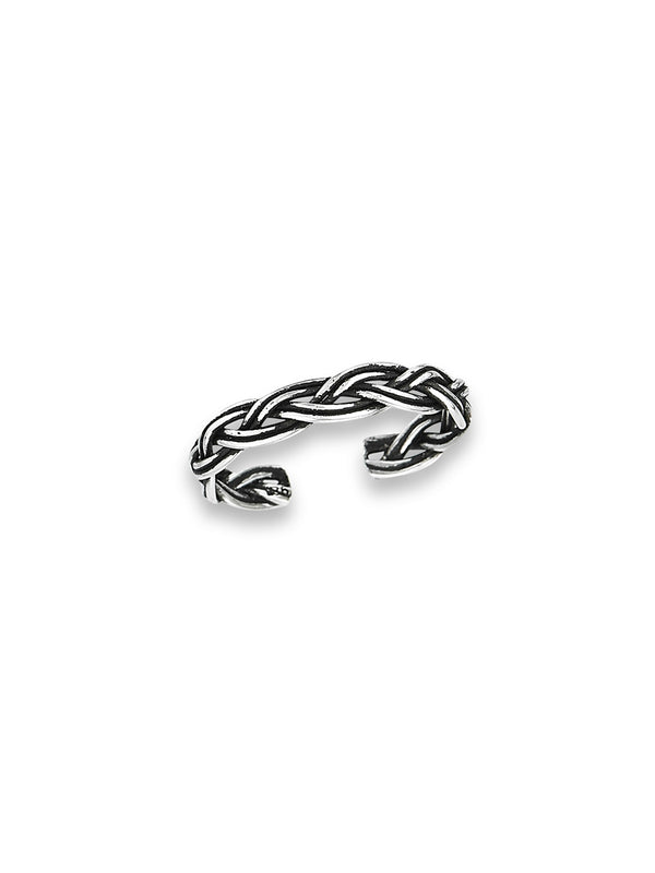 Woven Toe Ring | Adjustable Sterling Silver | Light Years Jewelry