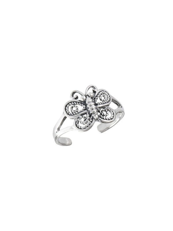 Butterfly Toe Ring | Sterling Silver Adjustable | Light Years Jewelry