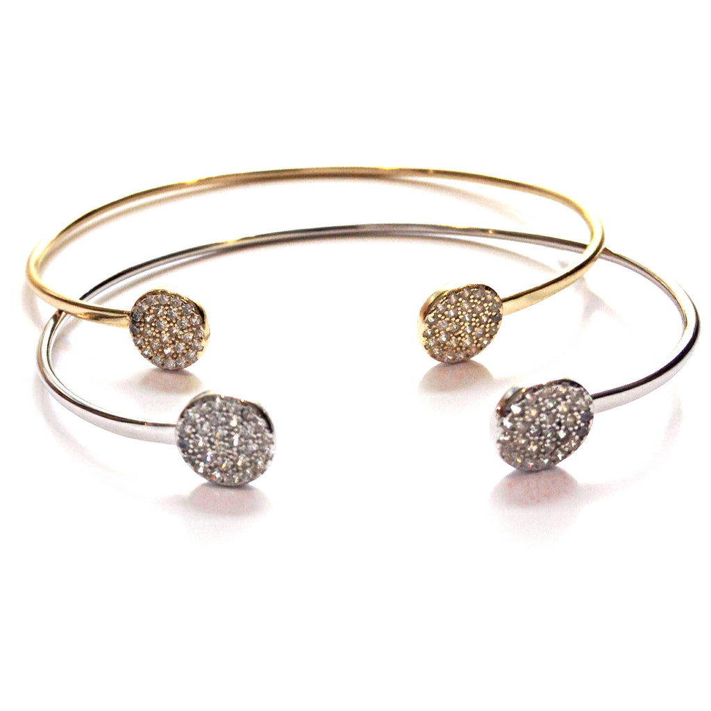 CZ Round Disc Cuff Bracelet, $29 | Gold & Silver | Light Years Jewelry