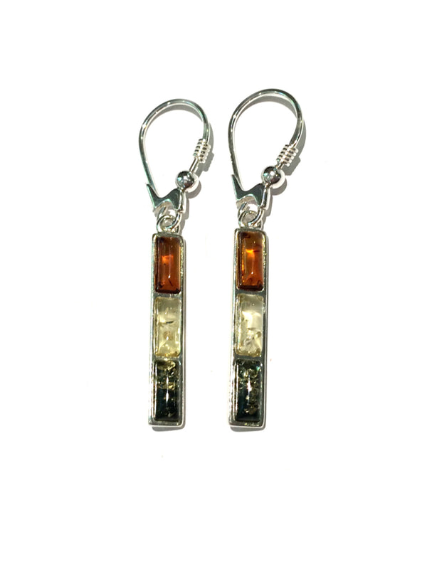 Tricolor Baltic Amber Bar Earrings | Sterling Silver Dangles | Light Years