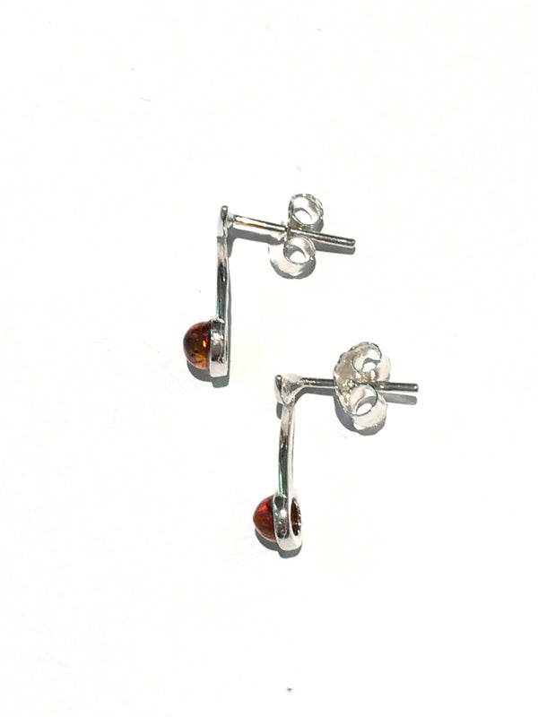Amber Music Note Post Earrings | Sterling Silver Studs | Light Years
