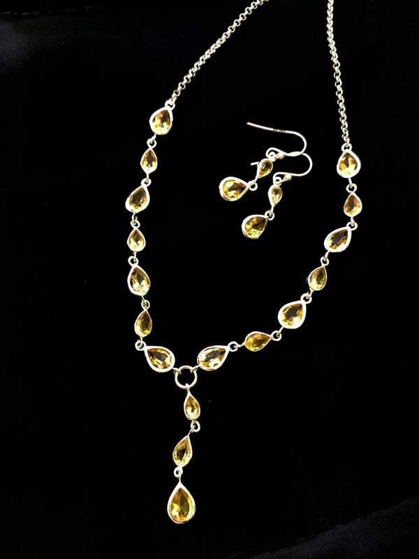 Citrine Necklace & Earring Set | Sterling Silver Gemstone | Light Years