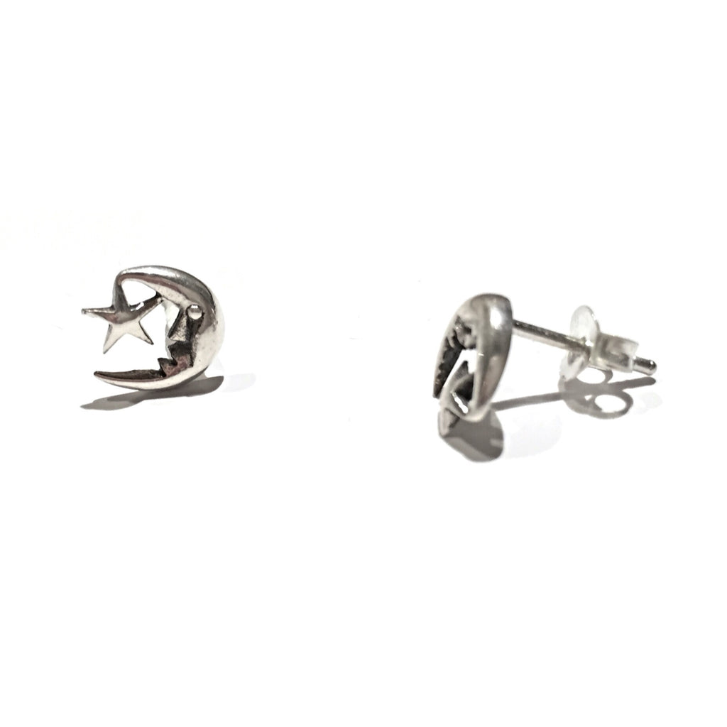 Moon and Star Posts | Sterling Silver Stud Earrings | Light Years Jewelry