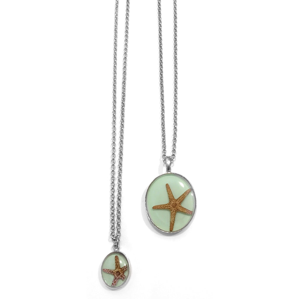 Aqua Starfish Pendant Necklace, $32-36 | Handmade | Light Years Jewelry