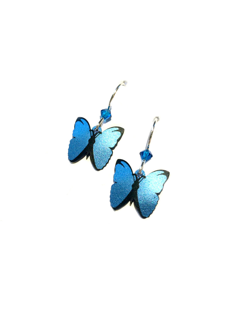 Blue Morpho Butterfly Dangles | Sterling Silver Earrings | Light Years