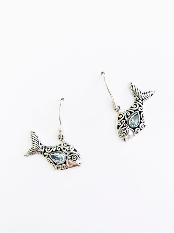 Blue Topaz Fish Dangles | Sterling Silver Bali Earrings | Light Years
