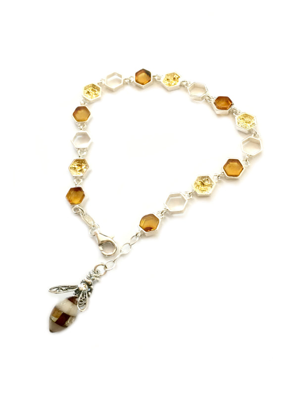 Baltic Amber Honeybee & Comb Bracelet | Sterling Silver | Light Years