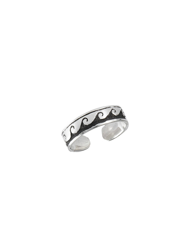 Wave Band Toe Ring | Adjustable Sterling Silver | Light Years Jewelry