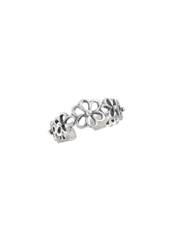 Open Flowers Adjustable Toe Ring | Sterling Silver | Light Years Jewelry