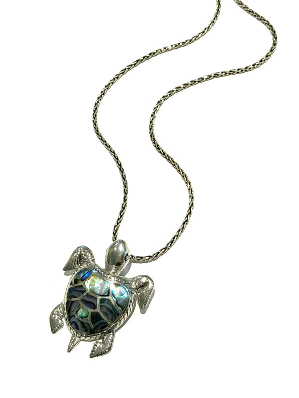 Abalone Inlay Turtle Pendant | Sterling Silver Bali | Light Years Jewelry