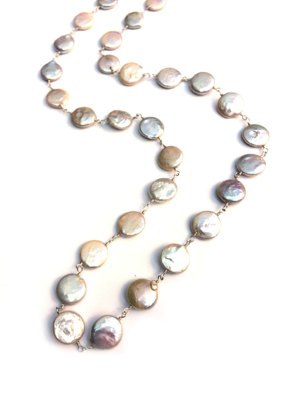 "Coin Pearl Necklace | 26"" Sterling Silver Strand 
