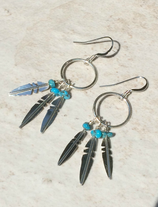 Feather & Turquoise Navajo Dangles | Sterling Silver | Light Years