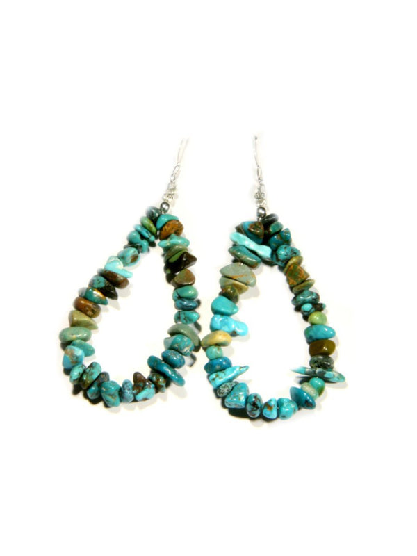 Beaded Turquoise Statement Earrings | Handmade Navajo | Light Years