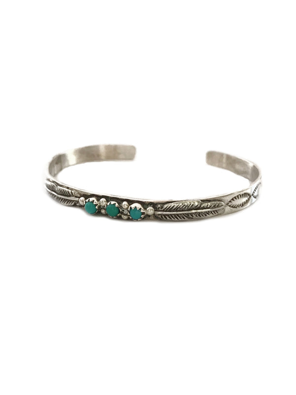 Navajo Turquoise Feather Cuff Bracelet | Sterling Silver | Light Years