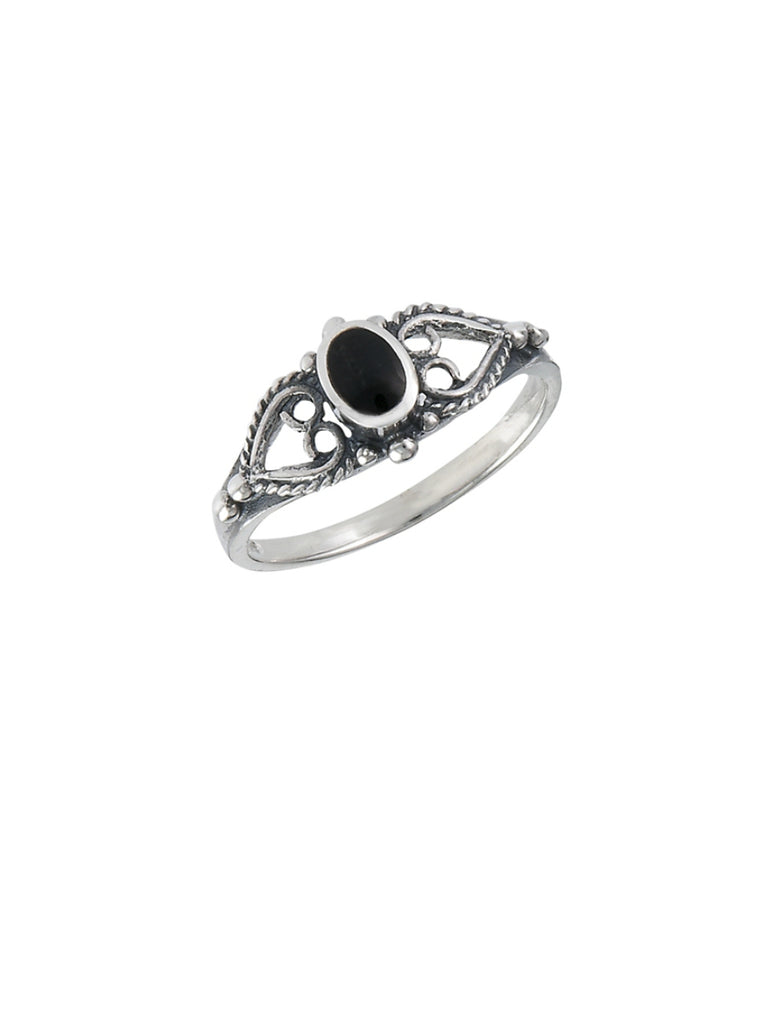 Onyx & Hearts Ring | Sterling Silver size 5 6 7 8 | Light Years Jewelry