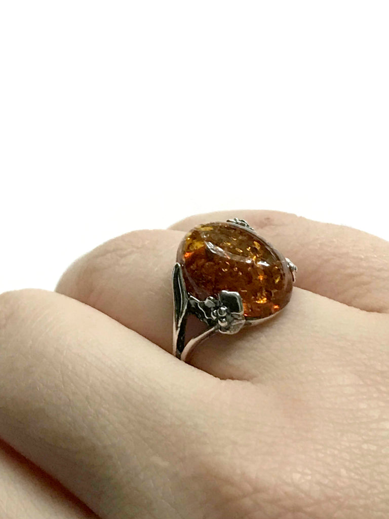 Baltic Amber Flower Ring | Sterling Silver Size 6 7 8 9 10 | Light Years